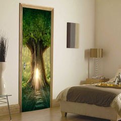 3D Wooden Doors Sticker Tree hole, light, green arch Wall Decal Self Adhesive Vinyl Removable Mural Poster Door Wallpaper - Slabiti