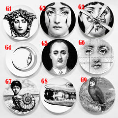 Lina Face Wall Decorative Ceramic Plates Home Decor Dish Porcelain Wall Hanging Art Plates Black White Scandinavian style - Slabiti