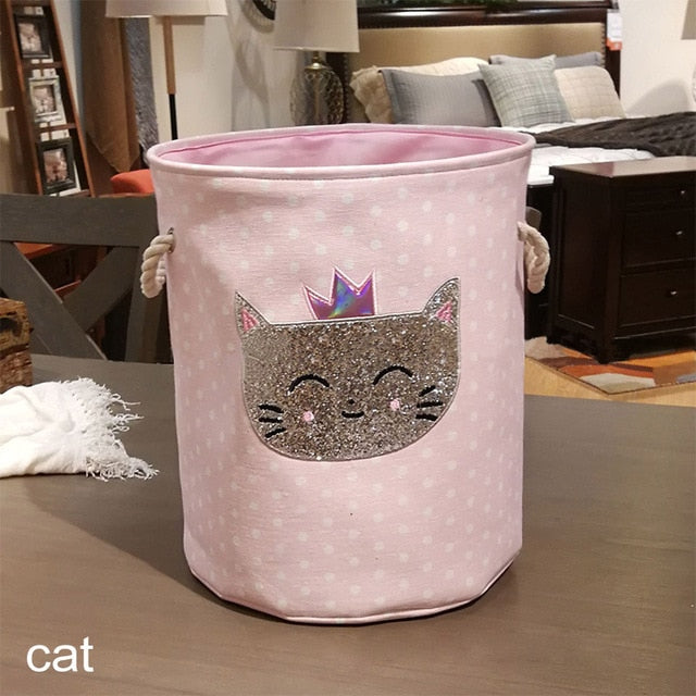 35*40cm Sundries Storage Barrels High Capacity Pink Swan Cat Foldable Toy Storage Box Home Organizer Dirty Laundry Basket Canvas - Slabiti