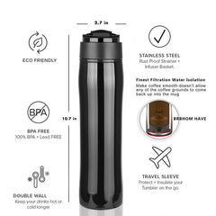 Hot XD-Original Portable French Press Coffee Maker Vacuum Insulated Travel Mug Premium Stainless Steel Hot And Cold Brew Great F - Slabiti