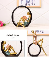 Creative Resin Reading Girl Figurines Ornaments  Europe Lady Miniature Furnishings Desktop Crafts Home Decoration Birthday Gifts - Slabiti