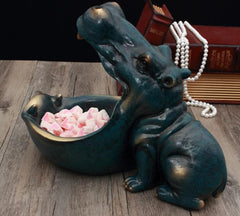 Abstract Hippopotamus Statue Decoration Resin Artware Sculpture Hippo Statue Decor Key Storage Tool Home Decoration D024 - Slabiti