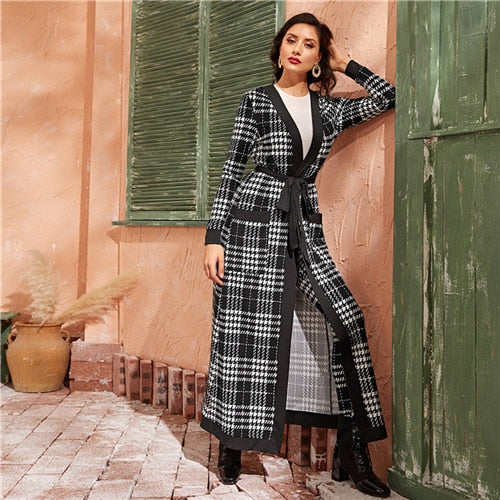SHEIN Black And White Double Pocket Side Belted Long Coat And Pants Elegant Set 2019 Autumn Streetwear Plaid Ladies Suit Sets - Slabiti
