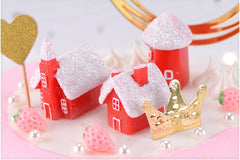 4pcs/Set Kawaii Christmas Snow House Decor Figurines Fairy Garden Miniatures Resin Craft Micro Landscape Home Decor - Slabiti