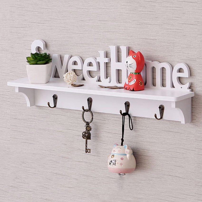 Home Wooden Clothes Hanger Wall Mounted Coat Hook Decorative Key Holder Hat Scarf Handbag Storage Hanger Bathroom Rack - Slabiti