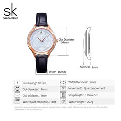 Women Watches ShengKe Brand Luxury Watch Quartz Waterproof Women's Wristwatch Ladies Fashion Leather Clock Relogios Feminino - Slabiti