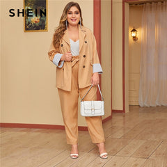 SHEIN Plus Size Khaki Double Breasted Blazer and Paperbag Waist Belted Pants 2 Piece Set Women Autumn Casual Two Piece Sets - Slabiti