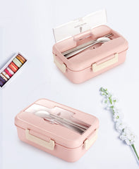 TUUTH Microwave Lunch Box Wheat Straw Dinnerware Food Storage Container Children Kids School Office Portable Bento Box - Slabiti