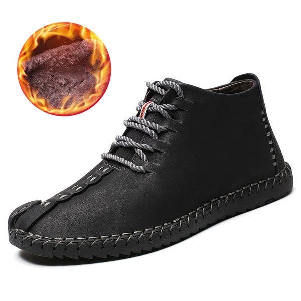 2019 Winter Shoes Men Warm Boots Men Fur High Quality Split Leather Wterproof Ankle Snow Boots Lace-Up Comfortable New Big size - Slabiti