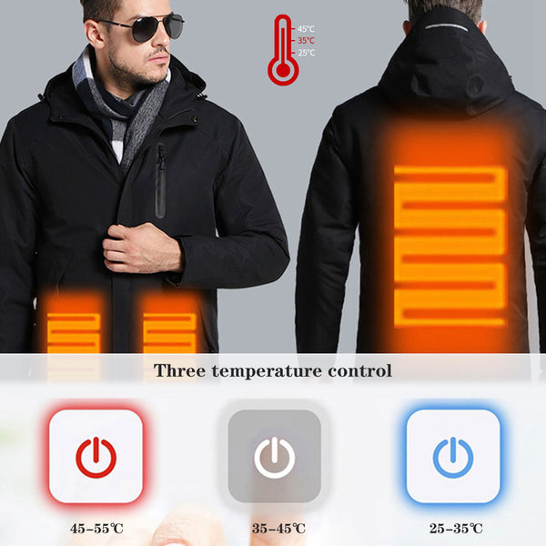 High Quatity USB Heating Cotton Jackets Outdoor Sport Waterproof Windbreaker Winter Hiking Camping Skiing Heated Coats - Slabiti