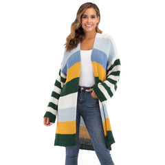 WOMEN'S Winter Coat Warm Cross Border Casual Long Joint Contrast Color Striped Oversize Knitted Sweater Cardigan Patched Outwear - Slabiti