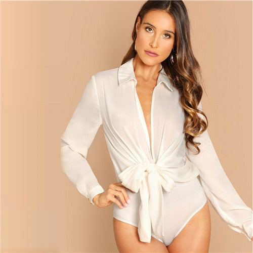 SHEIN White Plunge Neck Knot Front Blouse Bodysuit Casual Long Sleeve Mid Waist Bodysuit Women 2018 Autumn Plain Sexy Bodysuits - Slabiti