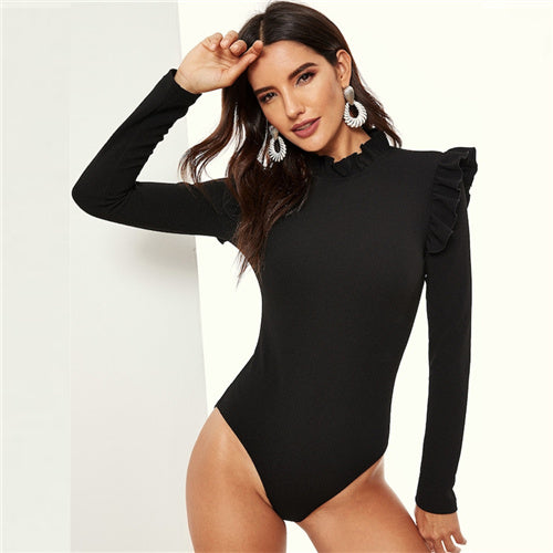 SHEIN Black Stand Collar Frill Detail Slim Fitted Skinny Plain Bodysuit Long Sleeve Women 2019 Spring Mid Waist Bodysuits - Slabiti
