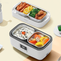 220V Multi-function Electric Thermal Insulation Box Portable Steam Heating Double Stainless Steel Inner Rice Cooker Office - Slabiti