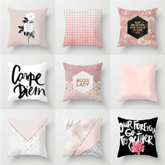 Nordic Simple Geometric Sofa Car Pillowcase Pink Polyester Home Office Cushion Cover Pillower Cover 45*45cm - Slabiti