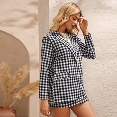 SHEIN Black And White Gingham Print Single Button Front Blazer And Skirt Preppy Set Women Autumn Long Sleeve Casual Outfits - Slabiti