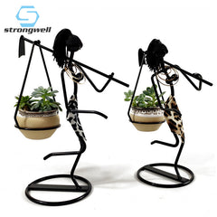 Strongwell Nordic Iron Girl Flower Stand Carrying Axe Man Succulent Plants Flower Pot Desktop Home Decorations Birthday Gift - Slabiti