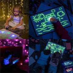 1PC A3 PVC Luminous Drawing Board Magic Light In Dark Fluorescent Pen Children Development Funny Educational Toy O1143 - Slabiti