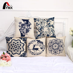 Chinese Style Cushions Cover Blue and White Porcelain Flower Pattern Sofa Pillowcase Cotton and Linen Pillow Cases Home Decor - Slabiti