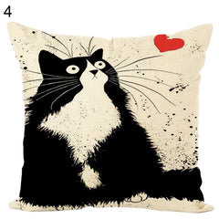 Cartoon Cat Kitten Throw Pillow Case Cushion Cover Sofa Car Home Office Decor - Slabiti