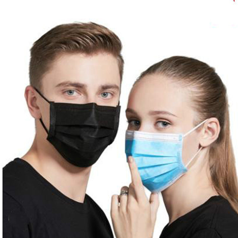 50pcs/bag Non Woven Black Disposable Face Mask Medical dental Earloop 3 layers Anti-Dust Face Surgical Masks - Slabiti