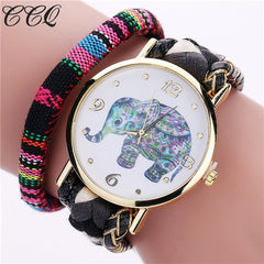 CCQ Brand Handmade Braided Women Elephant Wrist Watch Fashion Rope Ladies Quarzt Watches Relogio Feminino 2079 - Slabiti