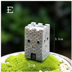 Chinese Antique Mini House Retro Building Micro Fairy Garden Figurines Miniatures/Terrarium Vintage Home Decor Ornaments DIY - Slabiti