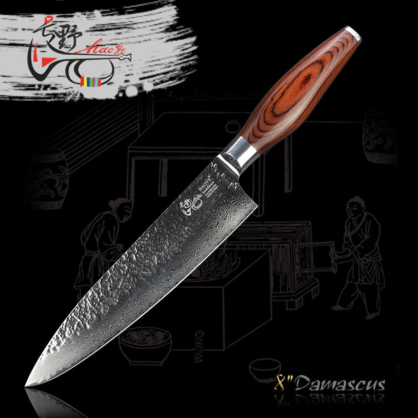 "HAOYE 8"" Damascus chef knife Japanese vg10 hammer steel high quality cook cut meat fish susi knife sharp kitchen knives gift NEW - Slabiti"