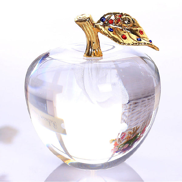 80MM Crystal Apple Paperweight Wedding Decoration Crystal Ball Craft Christmas Gifts for Kids - Slabiti