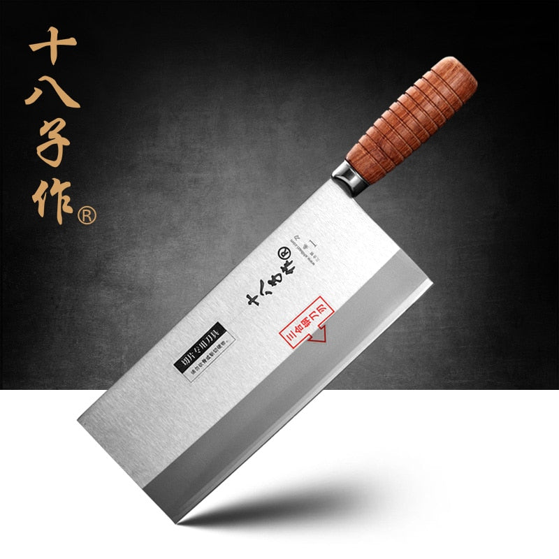 SHI BA ZI ZUO F208-1 3-Layer Stainless Steel, Wooden Handle Chinese Professional Chef Knife-Kitchen Knfe-Cleaver Tool - Slabiti