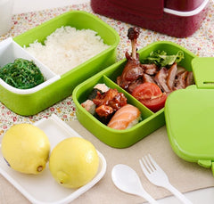 Large Capacity 1400ml Double Layer Plastic Lunch Box 12:00 Microwave oven Bento Box Food Container Lunchbox BPA Free - Slabiti