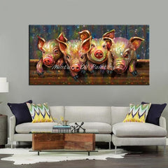 Hand Painted Abstract Elephant Couples Animal Family Oil Paintings On Canvas Children's Room Wall Picture For Living Room Decor - Slabiti