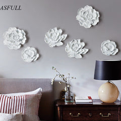 European creative resin flower mural wall decorations stereo TV background wall soft decoration crafts homedecoration accessoris - Slabiti