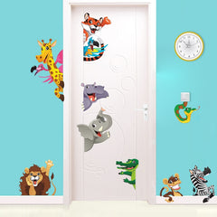 3d Cartoon Animals Door Stickers For Kids Room Bedroom Home Decoration Diy Safari Wall Decal Lion Elephant Zebra Mural Art - Slabiti