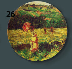 Monet Painting Wall Hangings Plates Ceramic Craft Home Decorative Dish Hotel Living Room Background Display Oil Painting Plates - Slabiti