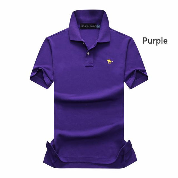 16 Colors Cotton Summer mens short sleeve solid color polos shirts - Slabiti