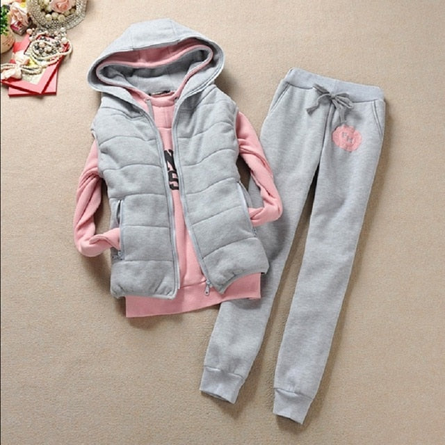 Autumn and winter new Fashion women suit women's tracksuits casual set with a hood fleece sweatshirt three pieces set - Slabiti