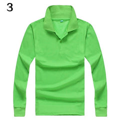 Men's Casual Solid Color Turn-Down Collar Long Sleeve Polo Shirt Pullover Top - Slabiti