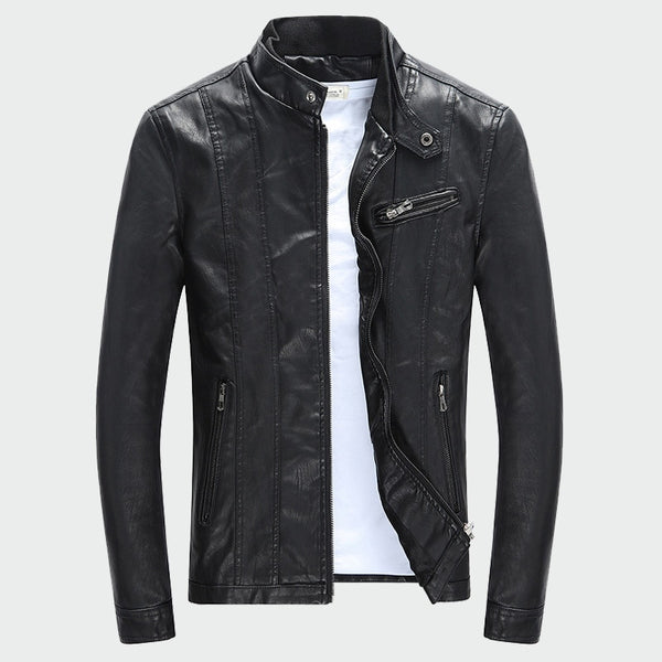 Men's PU Jackets Coats Autumn Winter Motorcycle Biker Faux Leather Jacket Men Clothes Thick Velvet Coats M-3XL ML007 - Slabiti