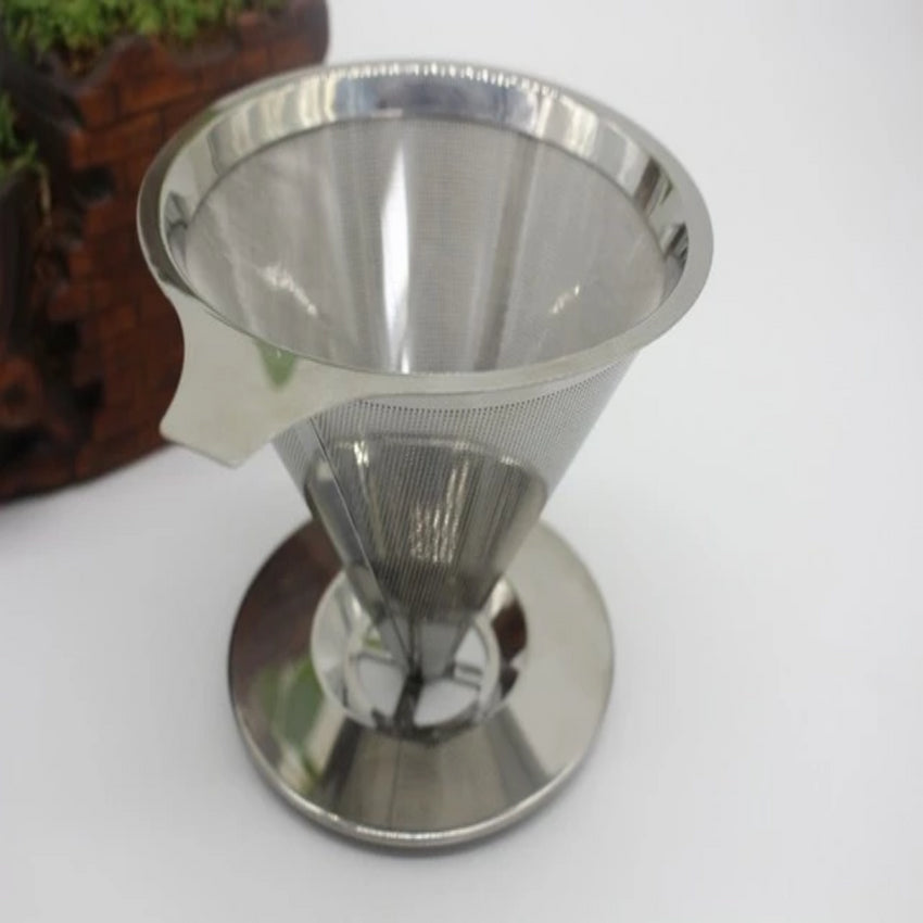 Paperless Pour Over Coffee Dripper Stainless Steel Reusable Coffee Filter - Slabiti