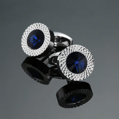 Novelty Luxury Blue white Cufflinks for Mens  Brand High Quality crown Crystal gold silver Cufflinks Shirt Cuff Links - Slabiti