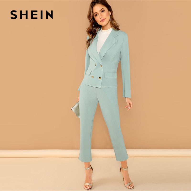 SHEIN Turquoise Pocket Front Double Breasted Notch Long Sleeve Coat Pants Set Women Autumn Elegant Workwear Twopiece - Slabiti