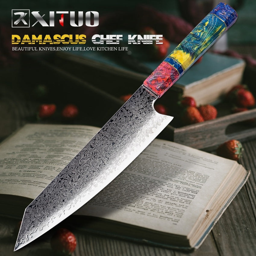 Chef's Nakiri Knife 67 Layers Japanese Damascus Steel Damascus Chef Knife 8 Inch Damascus Kitchen Knife Solidified Wood HD - Slabiti