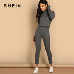 SHEIN Grey Turtleneck Rib-knit Drop Shoulder Crop Top and Leggings Two Piece Sets Women Spring Casual Streetwear Two Piece Set - Slabiti