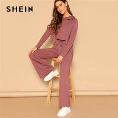 SHEIN Drawstring Crop Hoodie And Pants Set 2 Piece Outfits For Women Spring Casual Long Sleeve Crop Top Wide Leg Pants Sets - Slabiti