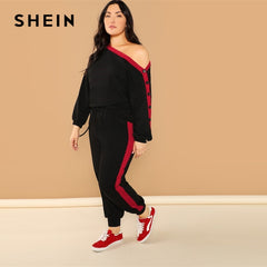 SHEIN Plus Black Asymmetric Shoulder Buttoned Sleeve Sweatshirt Pants Set Long Sleeve Co-Ord Women Spring Elegant Twopiece - Slabiti