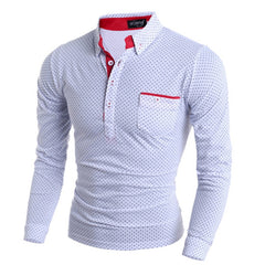 2019 New Spring Fashion Mens Dot Long Sleeve polo Shirts - Slabiti