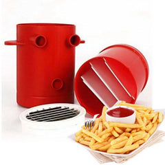 Copper Fries Potatoes Maker Slicers French Fries Maker For Jiffy Fries Cutter Machine & Microwave Container 2-in-1 No Deep-Fry - Slabiti