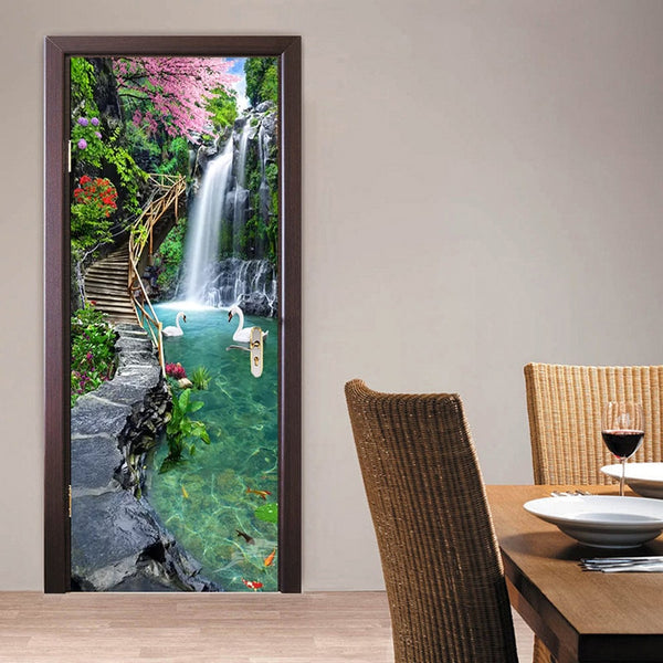 3D Nature Landscape Waterfalls Door Wall Sticker Living Room Kitchen PVC Self-Adhesive Waterproof Sticker On The Doors Wallpaper - Slabiti