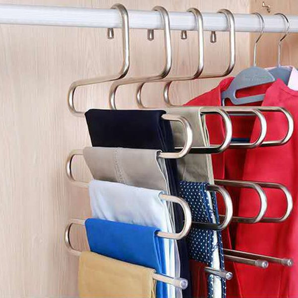 Multi-functional S-type trouser rack stainless steel multi-layer trouser rack traceless adult trouser hanger - Slabiti